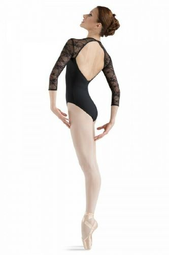 BLOCH Ladies Dance 3/4 Sleeve Leotard Lace Sweetheart Neck Open Back Kate L6016